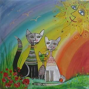Fotos Auf Acryl : katzenfamilie unterm regenbogen acryl auf leinwand 50cm x 50cm rain ~ Watch28wear.com Haus und Dekorationen