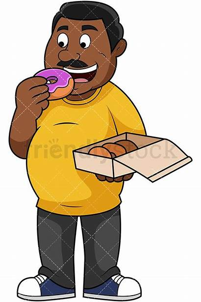Fat Eating Guy Donuts Cartoon Clipart Overweight