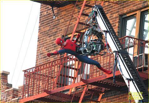 tom holland performs   spider man stunts  nyc