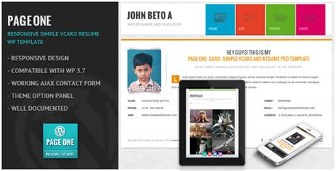 Free Responsive Resume Theme by Free Page One Responsive Vcard Cv Resume Wp Theme