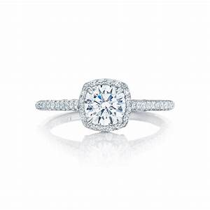 Tacori engagement rings petite crescent halo setting 041ctw for Halo engagement rings with wedding bands