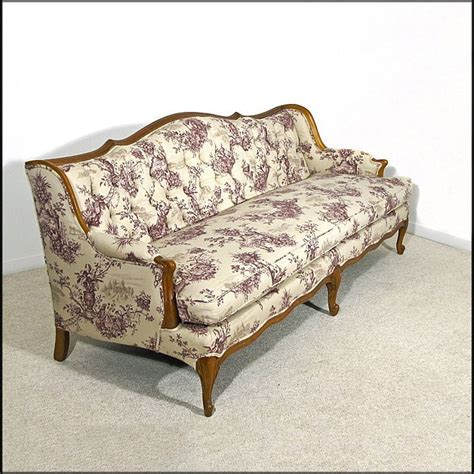 provincial style tufted sofa newly upholstered