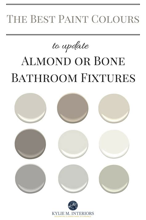 the best paint colours for an almond bone bathroom for