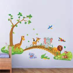 Wall Stickers For Kids Bedrooms by Big Jungle Animals Bridge Vinyl Wall Stickers Kids Bedroom