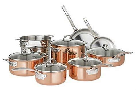 viking  piece tri ply durable copper cookware set brown ebay