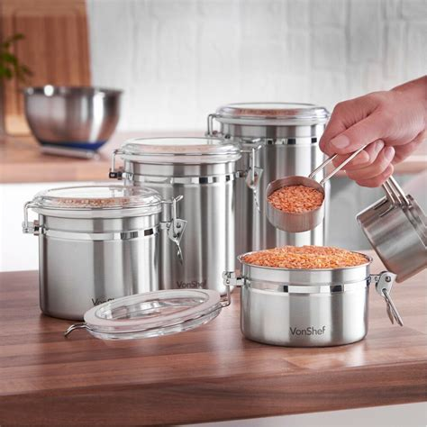 Stainless Steel Kitchen Canister by Vonshef Stainless Steel 4 Kitchen Canister Set