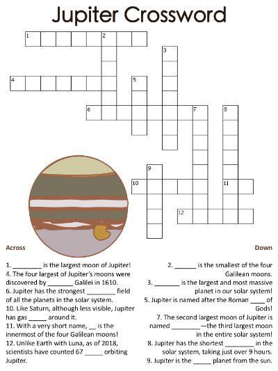 jupiter planet worksheet jupiter crossword puzzles