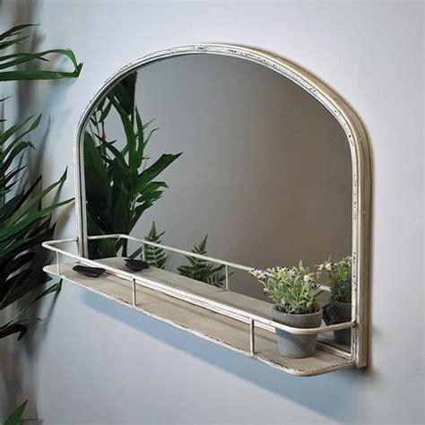 Distressed Vintage White Wall Mirror Shelf   shabby chic