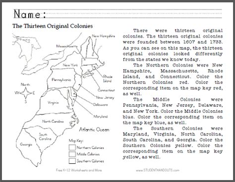 thirteen original colonies map primary worksheet free