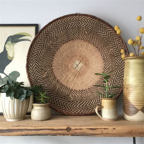Basket wall decor, nairobi, kenya. LARGE Vintage Handmade Ethnic African Basket / Natural Wall Art #12 - Mustard Vintage
