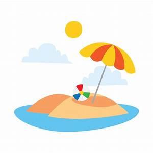 Cartoon beach illustration Vector | Premium Download