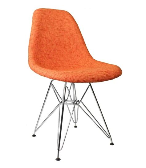 orange fabric upholstered mid century eames style accent