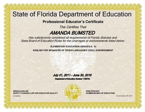 bureau of educator certification fl teaching certificate