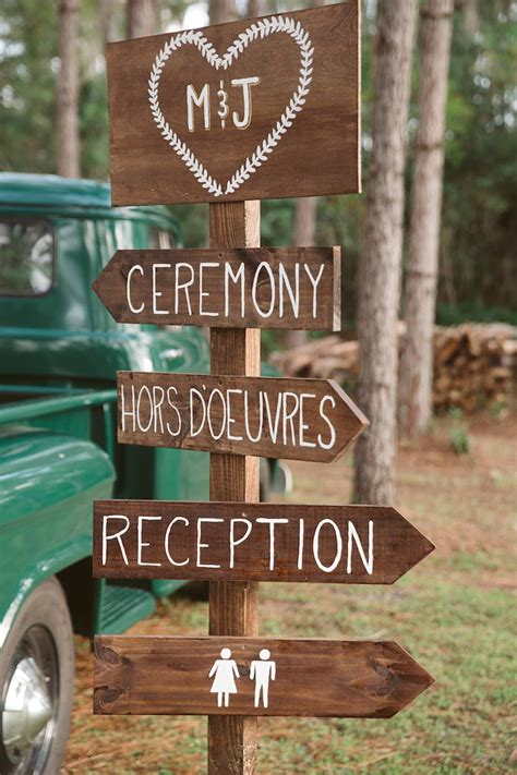 Wedding Signs by Rustic Glam Gold Pink Outdoor Wedding In The Woods