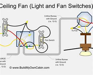 How do i wire a ceiling fan with two switches