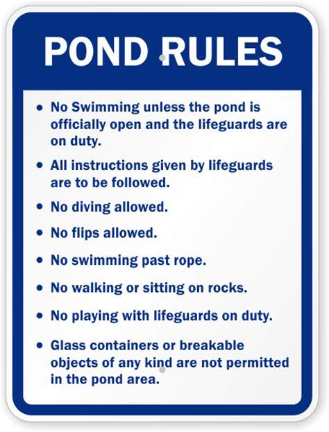 Pond Rules Sign  Rules Sign, Sku K5299
