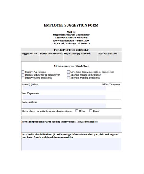 Word Employee Suggestion Form Template by 8 Sle Employee Suggestion Forms Sle Templates