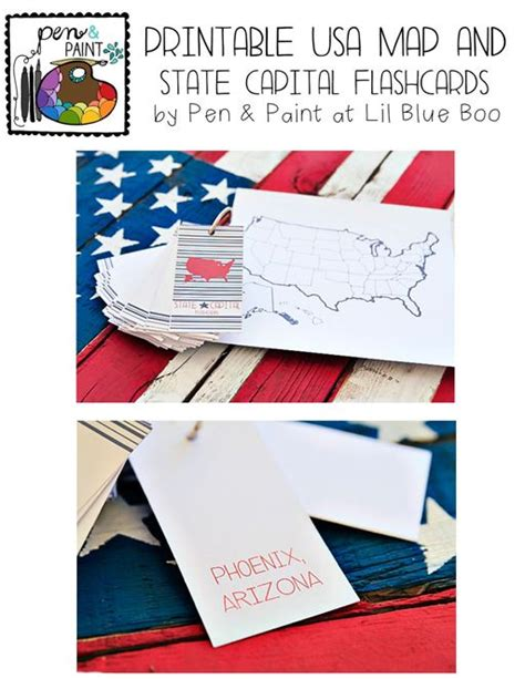 Printable Usa Map And State Capital Flashcards Via Lilblueboocom #teaching #states #learning