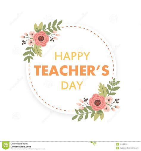 happy teachers day layout design  flower card stock