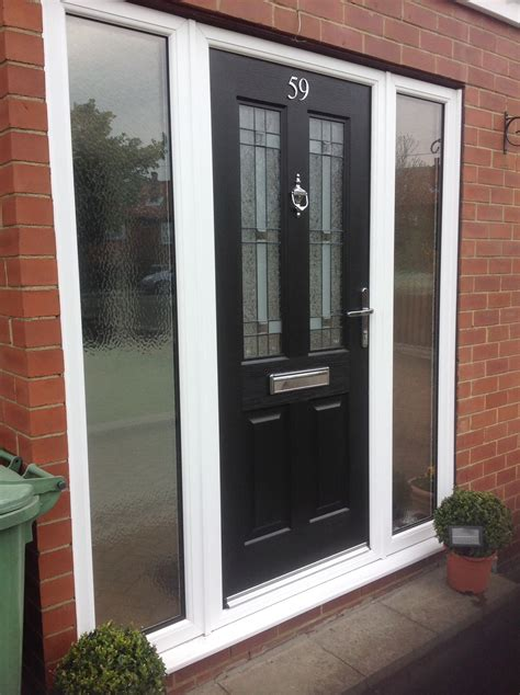 New Front Door And Frame by Composite Door With Glass Side Panels White Frame In