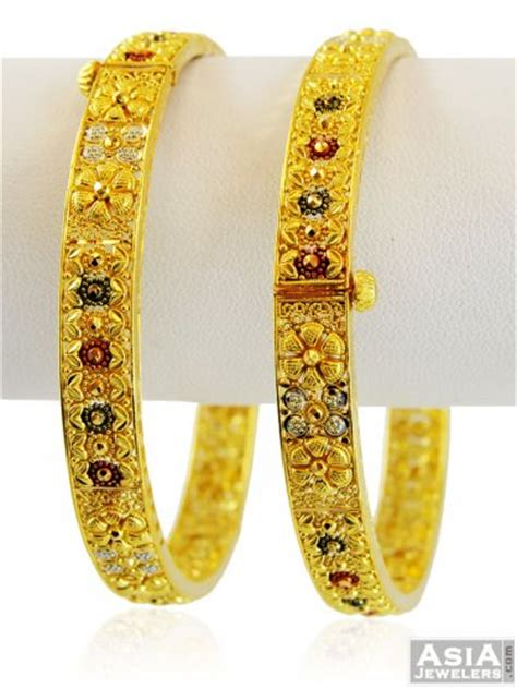 22k multi tone kada 2 pcs ajba58301 22k gold exclusive bangles or kadas set of two with