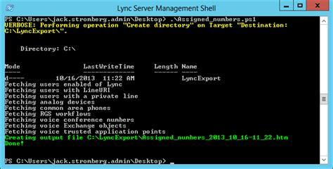 export  list  numbers   lync server  jack