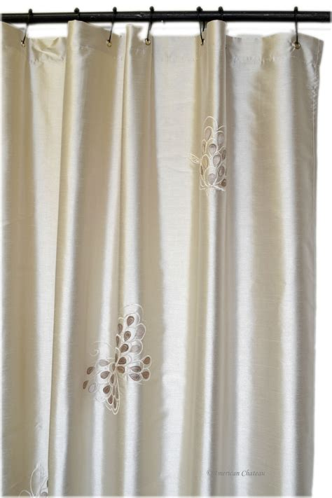 beige butterfly embroidered fabric bath shower
