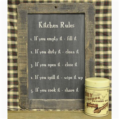 Kitchen Rules Blackboard: Primitive Home Decors