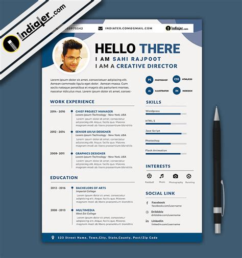 free editable cv and resume format psd file