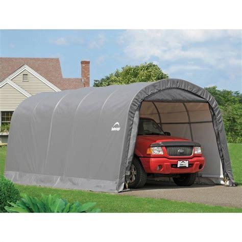 shelterlogic 12 x20 x8 round top garage in a box in gray