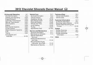 2012 Chevrolet Silverado Owner U0026 39 S Manual