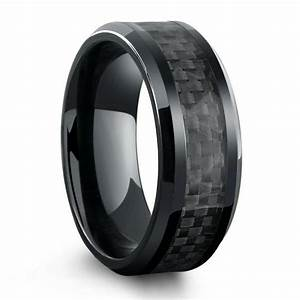 All black titanium ring mens wedding band with carbon for Carbon fibre wedding ring