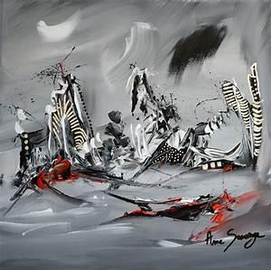Peinture Blanc Gris : tableau gris noir blanc rouge abstrait contemporain 100 unique ~ Nature-et-papiers.com Idées de Décoration