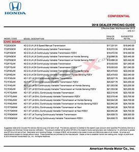 official 2016 honda civic pricing invoice retail With civic invoice price