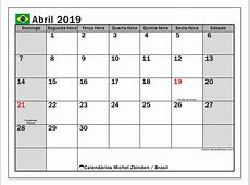 Calendário de abril de 2019, Brasil Michel Zbinden pt