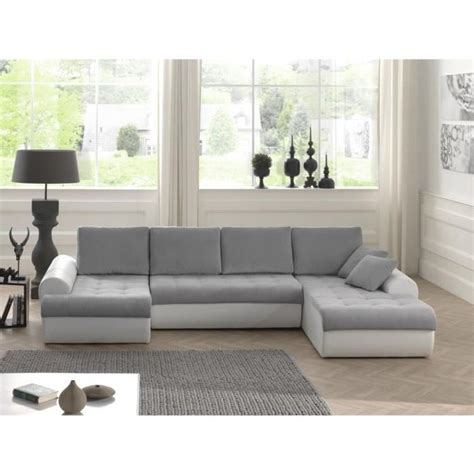 canape angle 8 places cloe canap 233 d angle convertible simili 8 places angle panoramique 320x186x85 cm gris clair