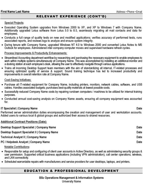 Desktop Support Resume Format Doc by Desktop Support Specialist Resume Sle Template