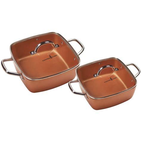 copper chef   deep dish pan  pc set ebay
