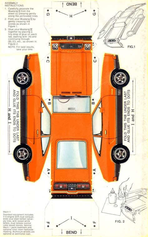 orange  mach  paper car ford mustang ii hatchback