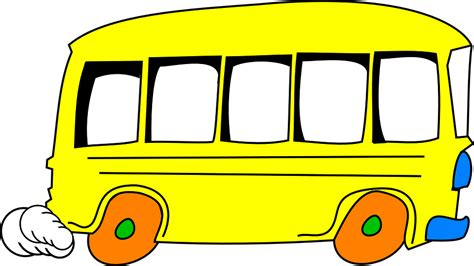 bus yellow cartoon  vector graphic  pixabay