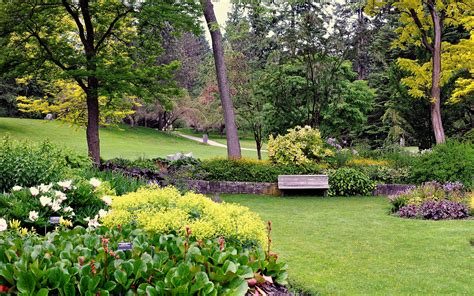 Free Garden Image by Bench Amazing Colourful Trees Garden Landscape
