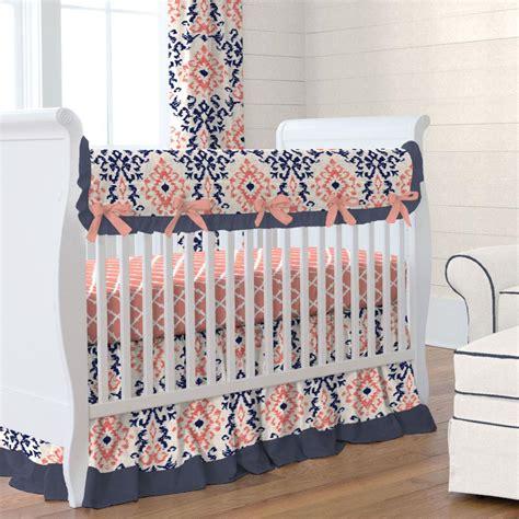 coral crib bedding navy and coral ikat crib skirt gathered carousel designs