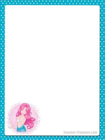 cute mermaid stationery  printable unlined paper timesaver