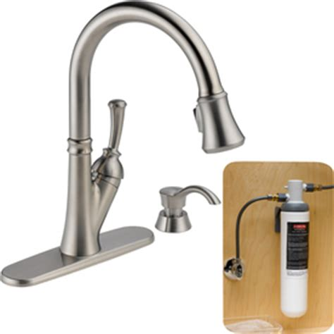 delta savile kitchen faucet shop delta savile with filtration stainless 1 handle pull down kitchen faucet at lowes com