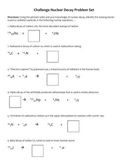 Nuclear Chem Pset 4