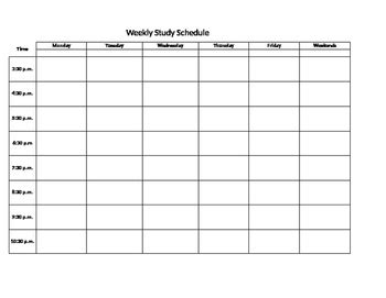 weekly study schedule template  kris blair teachers