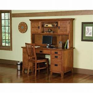 Arts crafts pedestal desk and hutch cottage oak finish for Home furniture 2 go
