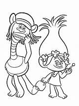Coloring Disney Trolls sketch template
