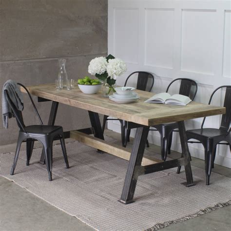A Game Reclaimed Wood Dining Table With Steel A Frame By