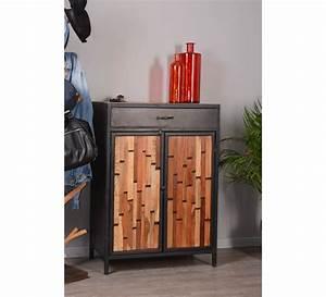 meuble a chaussures industriel bois recycle et metal With miroir a poser sur meuble 11 meuble rangement chaussures industriel bois massif et